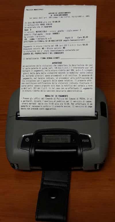 preavviso stampante mobile
